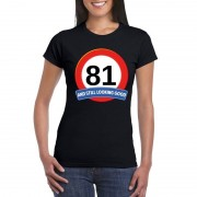Bellatio Decorations Verkeersbord 81 jaar t-shirt zwart dames