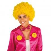 Geen Clownspruik met gele krulletjes verkleed accessoire