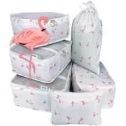 House of Quirk 7 Set Travel Organizer Bag 3 Packing Cubes + 3 Pouches + 1 Toiletry Organizer Bag, Premium Quality - White Flamingo(White)