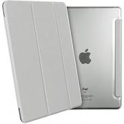 Apple iPad Mini 4 - Smart Book Case Retro Leather Silver (Flip Cover / Hoesje) - Luxe Bescherming voor Voor- en Achterkant (Zilver / Wit en Leer)
