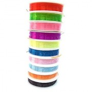 Colorful Elastic For Diy Jewelry Bracelet Beads Set Of 10 Multicolored Elastic Rolls Size 0.8 Mm