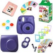 Fujifilm Instax Mini 8 Cámara de película + Instax Mini Película (20 Disparos) + Funda Protectora para cámara + Lente Selfie + filtros + Marcos Photix Kit de diseño Decorativo.