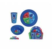 Pj Masks Pyjamashjältarna, 3 delar i plast med tallrik, glas och skål