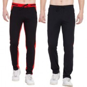 Cliths Pack of 2 Stylish Cotton Joggers For Men/ Sport lowers For Men (Black Red)