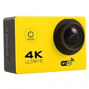 YXC F60 Videocámara de acción Deportiva con visualización de 2.0 Pulgadas 4K 170 Grados de Gran Angular WiFi con Carcasa Impermeable, Compatible con Tarjeta Micro SD de 64 GB (Negro)