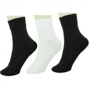 Neska Moda Men 3 Pairs Cotton Ankle Length Socks Black White S732