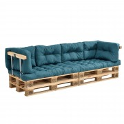 en.casa] Set de 8 cojines para sofá-palé - cojines de asiento + cojines de respaldo acolchados [turquesa] para europalé In/Outdoor