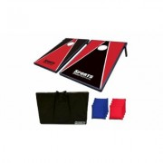 Sports Festival Cornhole Bean Bag Toss Game and Tic Tac Toe 2-in-1 Set Red & Black