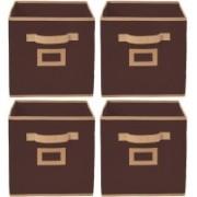 Billion Designer Non Woven 4 Pieces Large Foldable Storage Organiser Cubes/Boxes (Coffee) - CTKTC35230 CTKTC035230(Coffee)