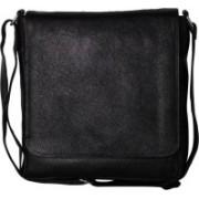 RLE Men & Women Black Genuine Leather Messenger Bag