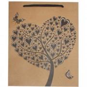 Dísztasak, 33x24x8 cm, szív fa, natúr