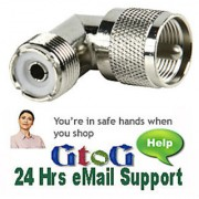 2x PL259 UHF Plug TO SO259 Socket RightAngle Adaptor's
