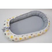 Baby Nest 0-6 luni Gri cu stele galben, gri, cappucino