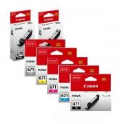 7 Pack Genuine Canon PGI-670, CLI-671 Ink Combo [2BK,1PBK,1C,1M,1Y,1GY]