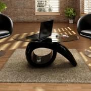 vidaXL Magasfényű Üveg Kávézóasztal Fekete