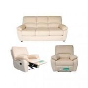 Set canapea 3 loc extensibila si 2 fotolii cu recliner manual Md.2818 3B-1R-1R Microfibra Bej 53-06