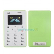 AIEK M5 GREEN COLOR WORLDS SLIMIEST ULTRA THIN GSM CREDIT CARDS PHONE