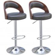 vidaXL Бар стол от изкуствена кожа с мека виенска облегалка, 2 броя, черни