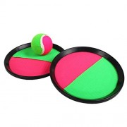 Prettyia Toss Catch Game Kids Sticky Target Ball Throw Chuck Ball Toy Sports Set for Kids Handheld Stick Disc Paddles with Ball Outdoor Games