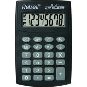 Calculator de buzunar, 8 digits, 98 x 65 x 9 mm, Rebell HC208 - negru