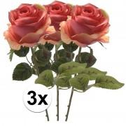 Bellatio flowers & plants 3x Roze roos kunstbloem Simone 45 cm