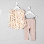 River Island Mini girls Pink ditsy top and leggings oufit