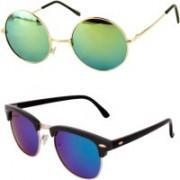 Barbarik Round, Clubmaster Sunglasses(Multicolor, Green)