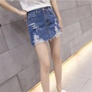 EH 2017 Verano Estilo Coreano Todas Las Prendas De Vestir Mujeres Slim Falda De Mezclilla De Alta Cintura L - Azul Oscuro