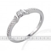 Luxusní zásnubní prsten s diamantem posetý diamanty 17ks/0,12ct