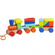 ACOOLTOY Wooden Geometric Blocks Train Building Stacking Set Toy Assembly Pull Along Puzzle for Kids Aged 18M+