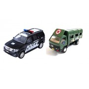 Combo Toys of Police Car and Army Truck | Miniature Car | Die-Cast Vehicle Toy | Pull Back and Go | Black and Green Color