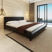 vidaXL Cama com colchão 180 x 200 cm couro artificial preto