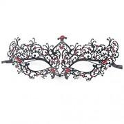Bighub Mask - TOOGOO(R) Rhinestones Metal Luxury Venetian Laser Cut Masquerade Filigree Mask (Black/Red Stones)