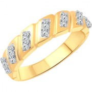 Vighnaharta Cross Line Band CZ Gold and Rhodium Plated Alloy Gents Ring for Men & Boys