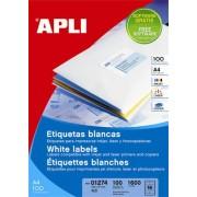 Etichete autoadezive Apli, cu colturi rotunjite, A4, ink/laser/copy, 99.1 x 67.7 mm, 800 bucati, 100 coli/top