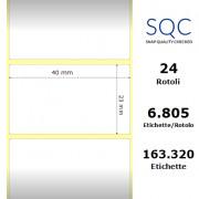Etichette SQC - Carta termica (bobina), formato 40 x 23