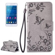 Samsung Galaxy Grand Prime Case, Samsung Galaxy G530, Diamond Encrusted Butterflies Love Flowers Pattern Horizontal Flip Leather Case with Holder & Card Slots & Wallet & Lanyard(Grey)