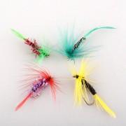Duola 4pcs varios ganchos de la mosca seca combatir moscas salmón gancho Señuelos de pesca nuevo