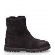Shabbies Laarsjes Ankle Boot Wool Lining Waxed Suede Zwart