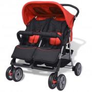 vidaXL Carrinho de bebé para gémeos aço vermelho e preto