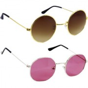 Derry Combo Of Bronze-Gold And Pink Sunglasses
