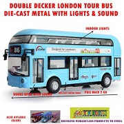 TOY-STATION Double Decker London Bus with Lights and Sound Die Cast Metal Play Set for Kid's (Blue)