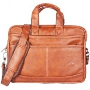 HANDCUFFS Rust Colour Leather Office Laptop Bag For Men Waterproof Shoulder Bag(Beige, 14 L)