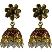Pourni exclusive Designer Pearl Jhumka Gold finish Earring - PRER132
