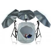 Zestaw oświetleniowy bezcieniowy - 3x600W + namiot 80cm z parasolami