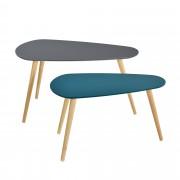 [en.casa]® Set de 2 mesas de centro - gris y turquesa - patas de madera maciza de haya - mesa auxiliar de madera