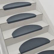 Комплект от 15 броя самозалепващи се стелки за стълби [en.casa]®, 280 g/m² , Полукръг, Сив