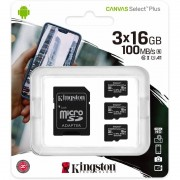 Kingston CANVAS SELECT PLUS MICROSDHC 3x16GB CLASS10 UHS-I A1 100MB/S