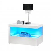 [en.casa]® Нощно шкафче с LED осветление, 59 x 36 x 38 см, Бяло