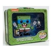 2014 SDCC Pop! Television: TMNT Spongebob Leonardo & Plankton Shredder Tin Tote with Figures